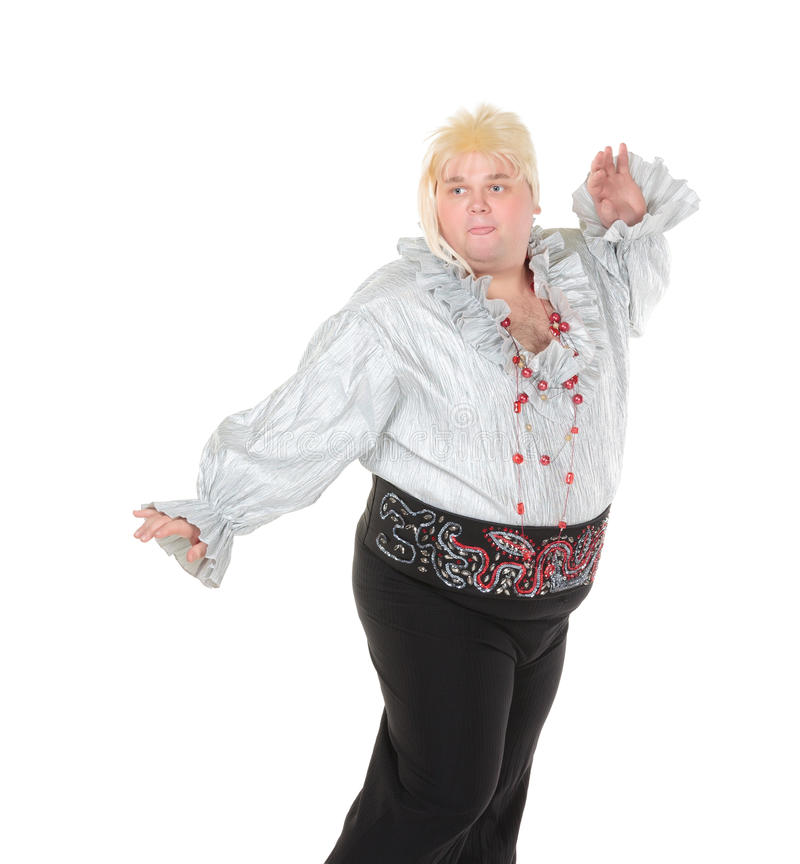 Download Crazy Funny Fat Man Posing Wearing A Blonde Wig Royalty Free Stock Photography - Image: 28961997
