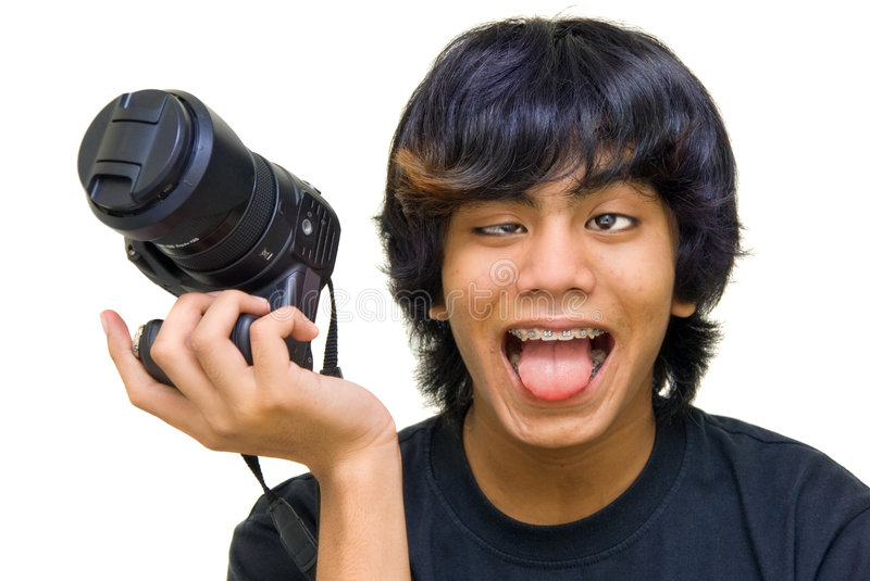 Crazy funny photographer royalty free stock images