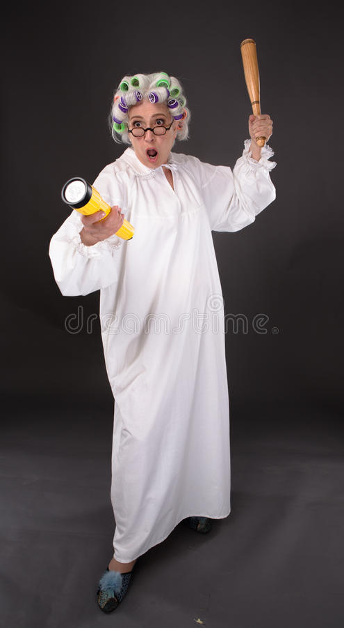 Crazy furious grandmother stock image