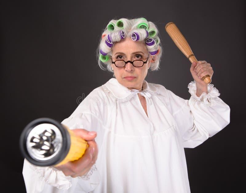 Crazy furious grandmother royalty free stock photography