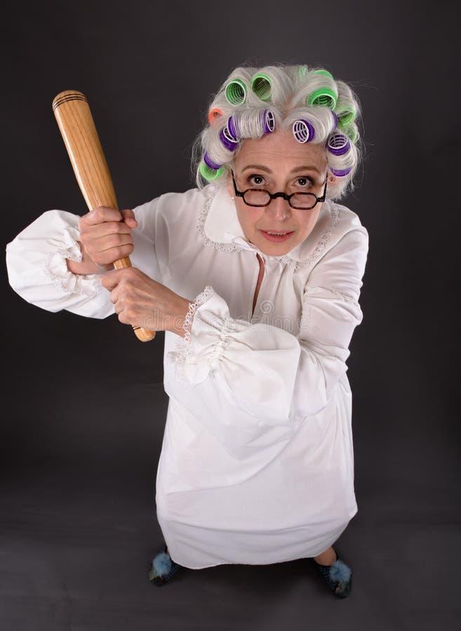 Crazy furious grandmother stock photography