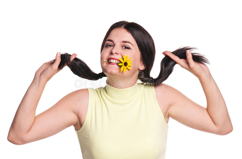 Crazy girl. Crazy pretty girl with camomile flower isolated on white background stock image