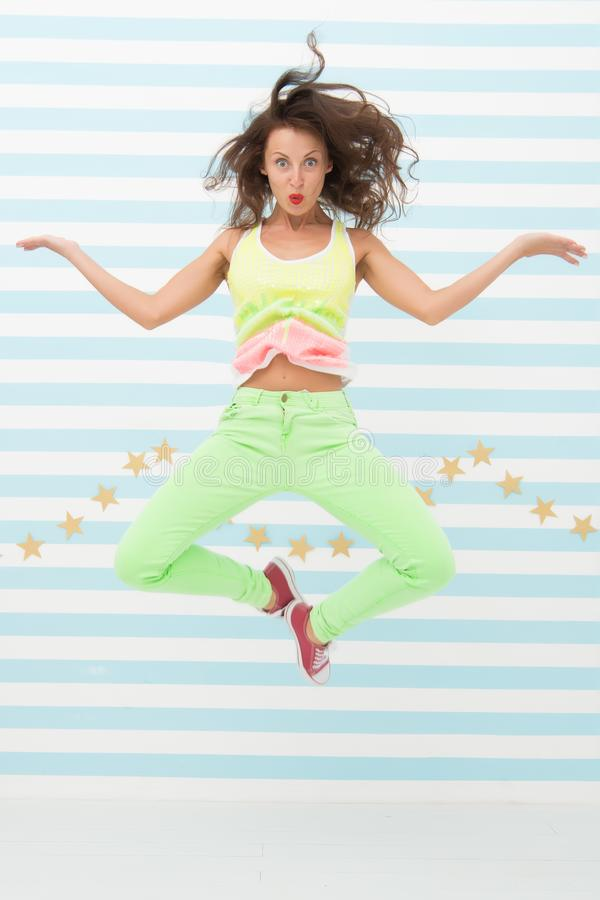 Crazy girl in colorful sporty clothes. Glamour fashion model. Fashion and beauty. Hipster girl. Happy and stylish stock photos