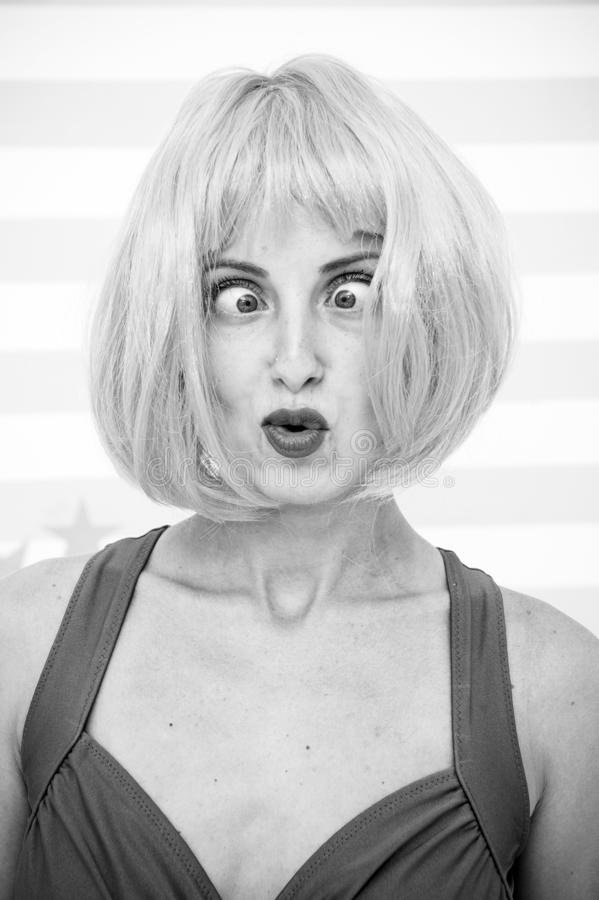 Crazy girl with orange hair. crazy emotions on face of girl. feelings and emotions concept. crazy eyes of cosplay girl. Going crazy. woman with funny eyes stock images