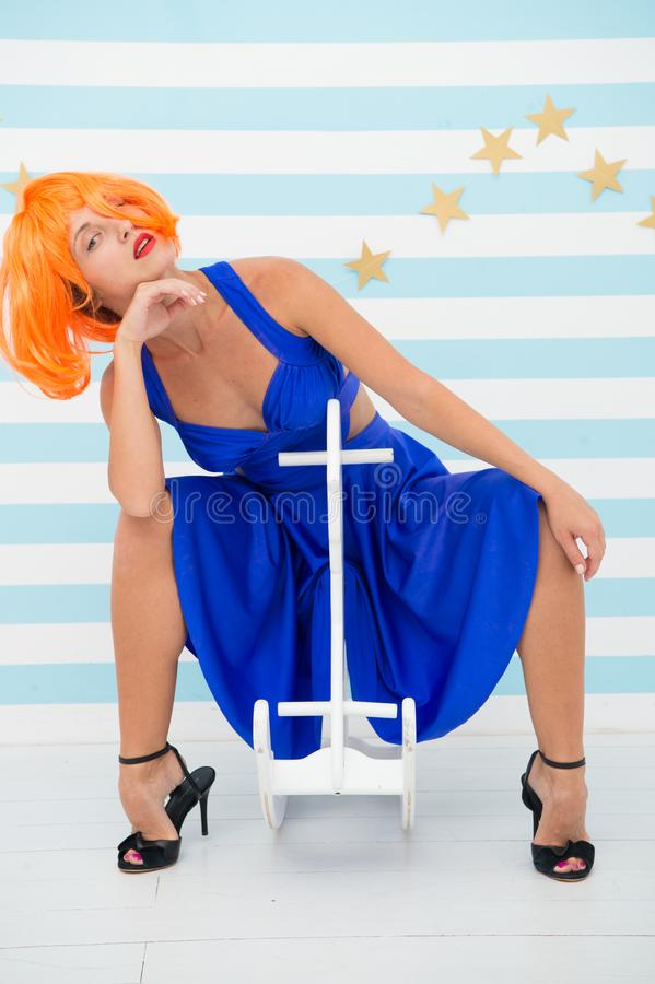 Crazy girl play at birthday party. Happiness and carelessness. Fun time. Going crazy. Carefree woman with crazy look. Playing. Fashion girl having fun. retro royalty free stock images