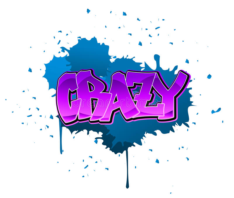 Crazy graffiti background. Crazy graffiti design on blue blobs background stock illustration