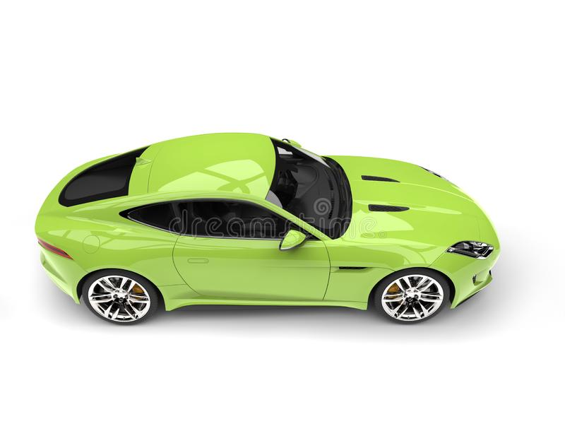 Crazy green modern sports concept car - top down side view. Isolated on white background royalty free illustration