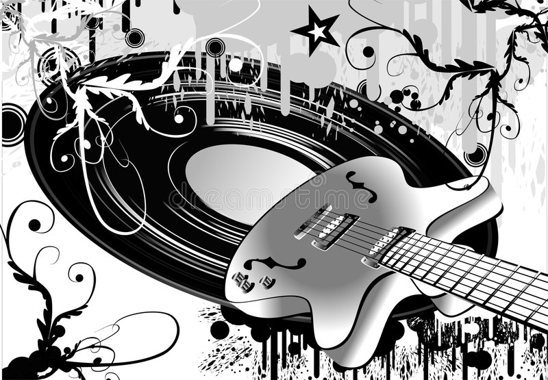 Crazy guitar grunge style royalty free stock images