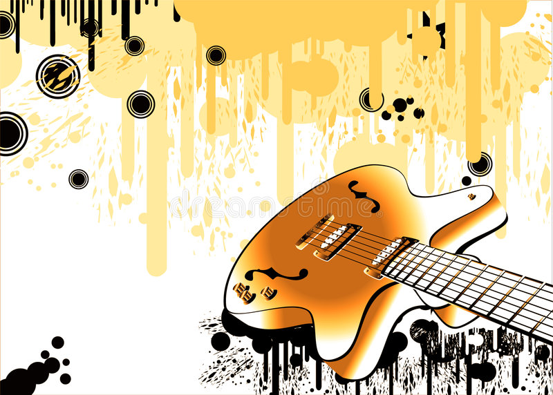 Crazy guitar grunge style royalty free stock photography