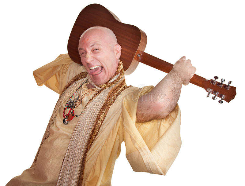 Crazy Guru With Guitar. Crazy bald guru holds guitar over white background royalty free stock photo