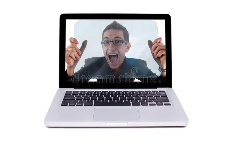 Download Crazy guy in a laptop stock photo. Image of joyful, etiquette - 15481326