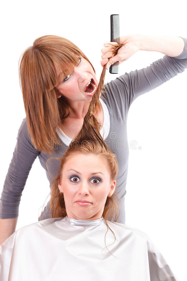Funny Characters Crazy Hairdresser Frightened Woman Stock ... |Crazy Hairdresser
