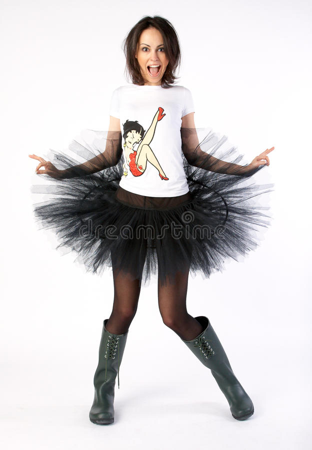 Crazy happy dancer in boots royalty free stock photo