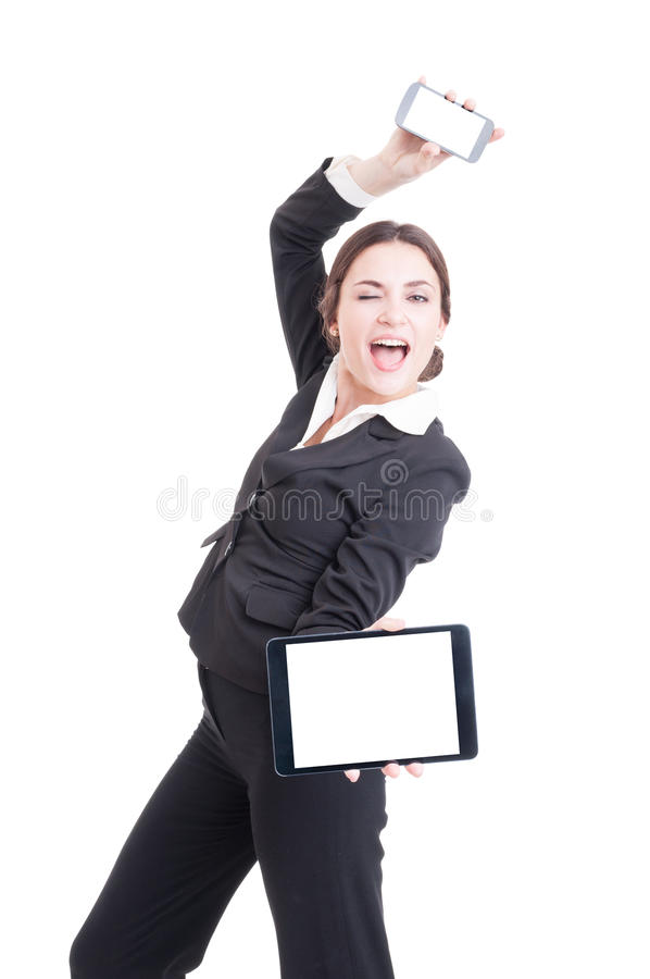 Crazy happy sales woman showing modern technology devices royalty free stock photography