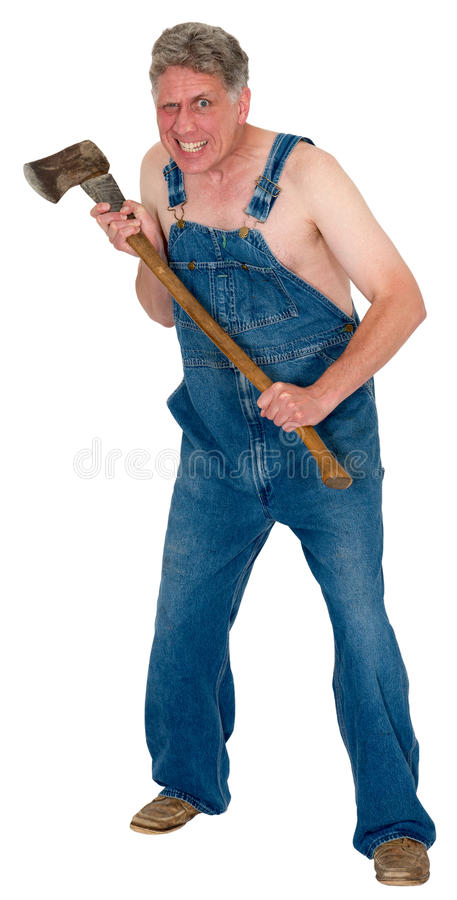 Free Crazy Hick Hillybilly Axe Murder, Halloween Murderer Isolated Stock Image - 44784621