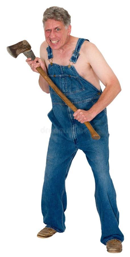 Crazy Hick Hillybilly Axe Murder, Halloween Murderer Isolated stock image