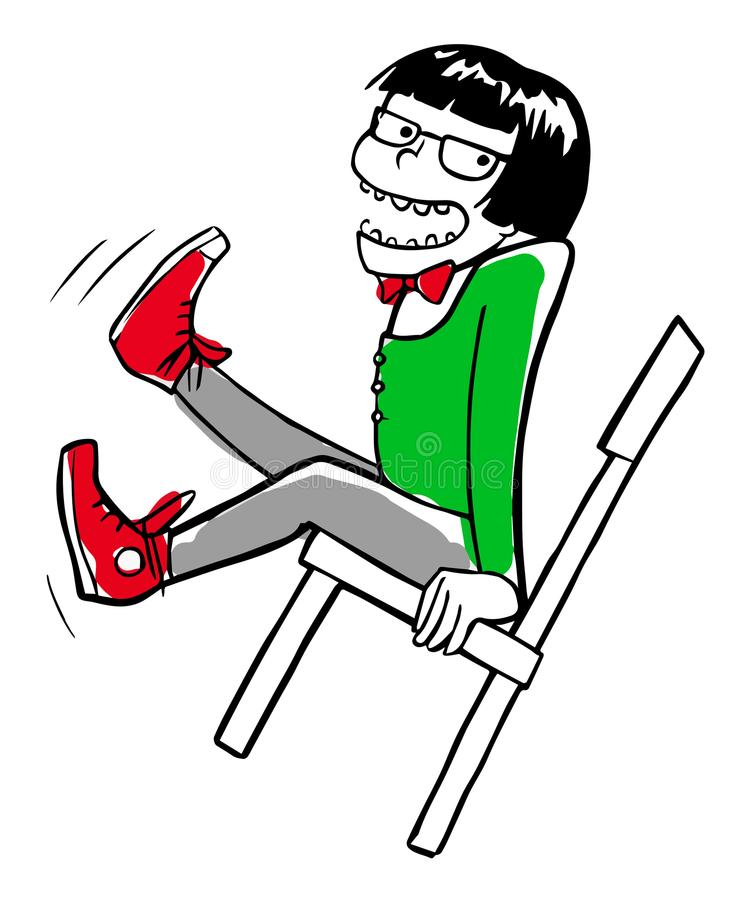 Crazy hipster boy swinging on the chair stock illustration