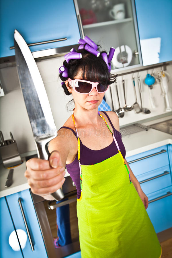 Download Crazy housewife stock image. Image of knife, housework - 15912835