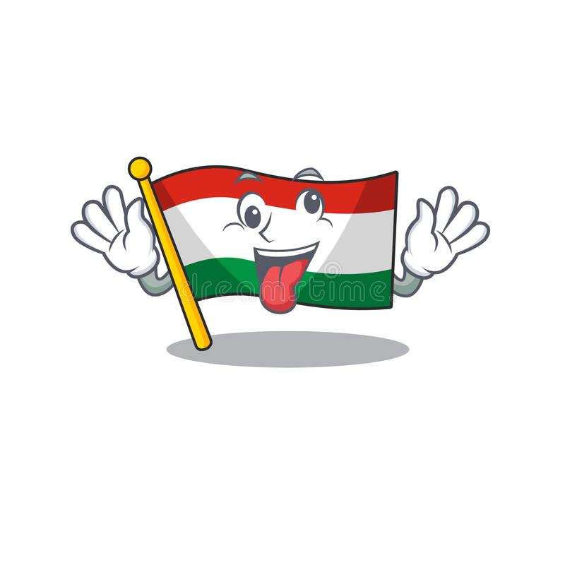 Crazy hungary flag folded in character drawer. Vector illustration royalty free illustration