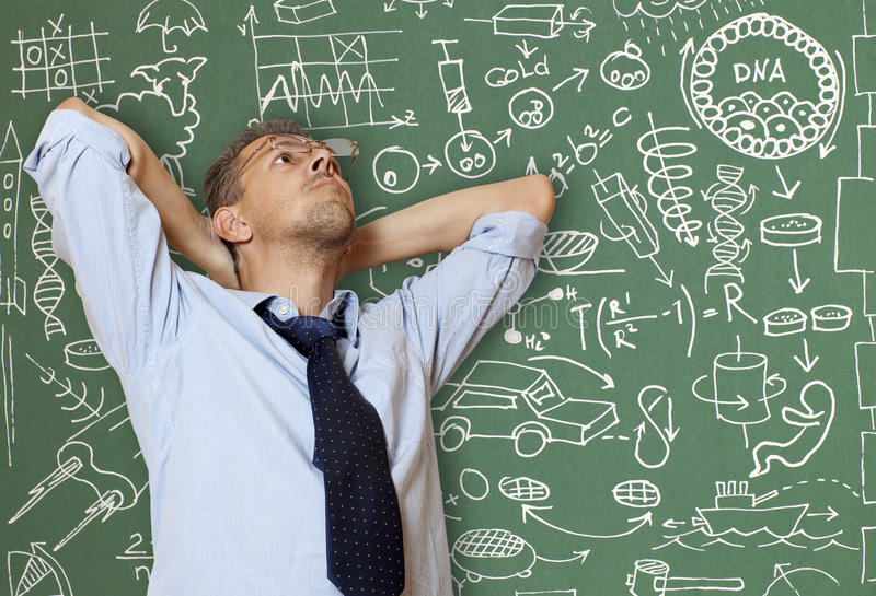Crazy inventor stock photography