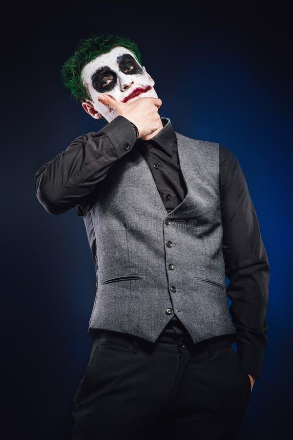 Crazy joker face. Halloween stock photos