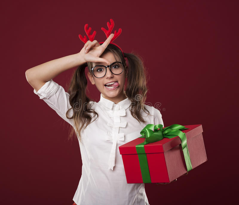 Crazy Lady With Gift Stock Images