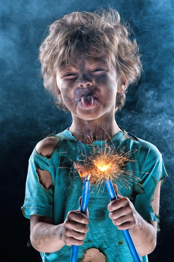 Crazy little electrician royalty free stock photo