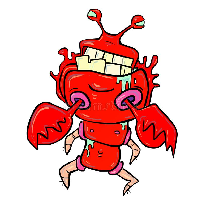 Crazy Lobster. Shiny red lobster with unusual anatomy drooling royalty free illustration