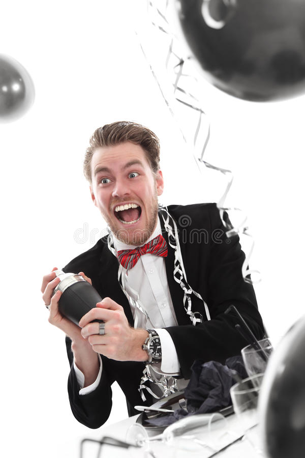 Download Crazy Looking Party Guy With Cocktail Shaker Stock Photography - Image: 27690882