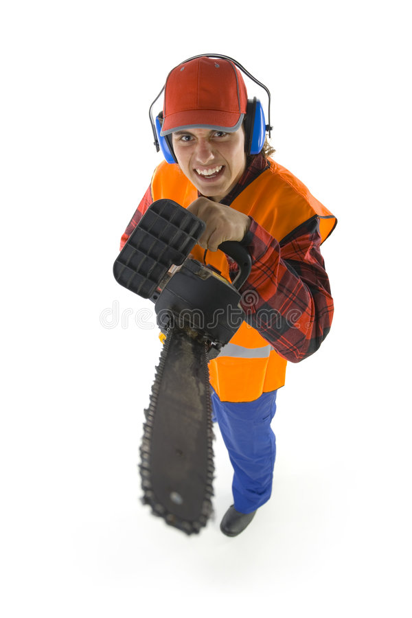 Crazy lumberjack. Young lumberjack with chainsaw. He's looking at camera. Isolated on white background stock photography