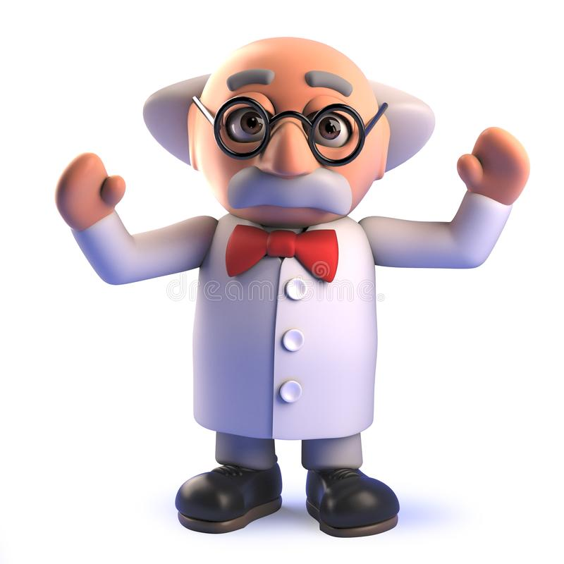 Free Crazy Mad Scientist Characte In 3d Waving His Arms And Cheering Stock Photography - 149891352