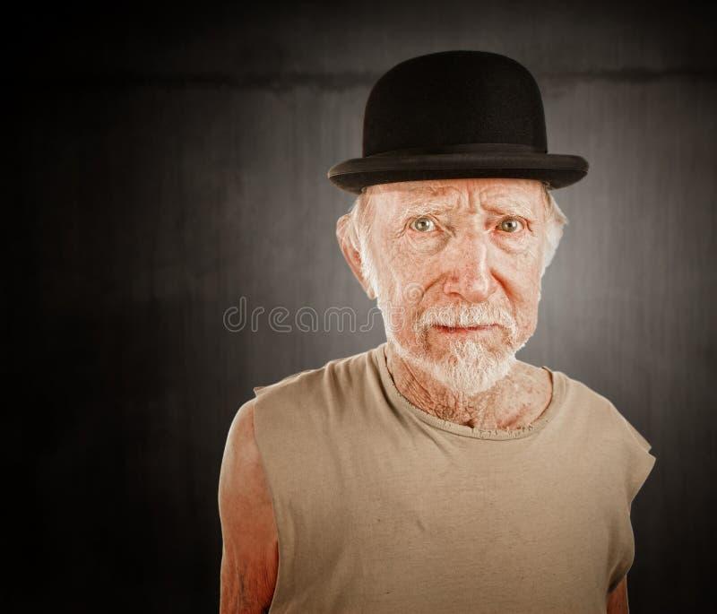 Crazy man in bowler hat royalty free stock photos
