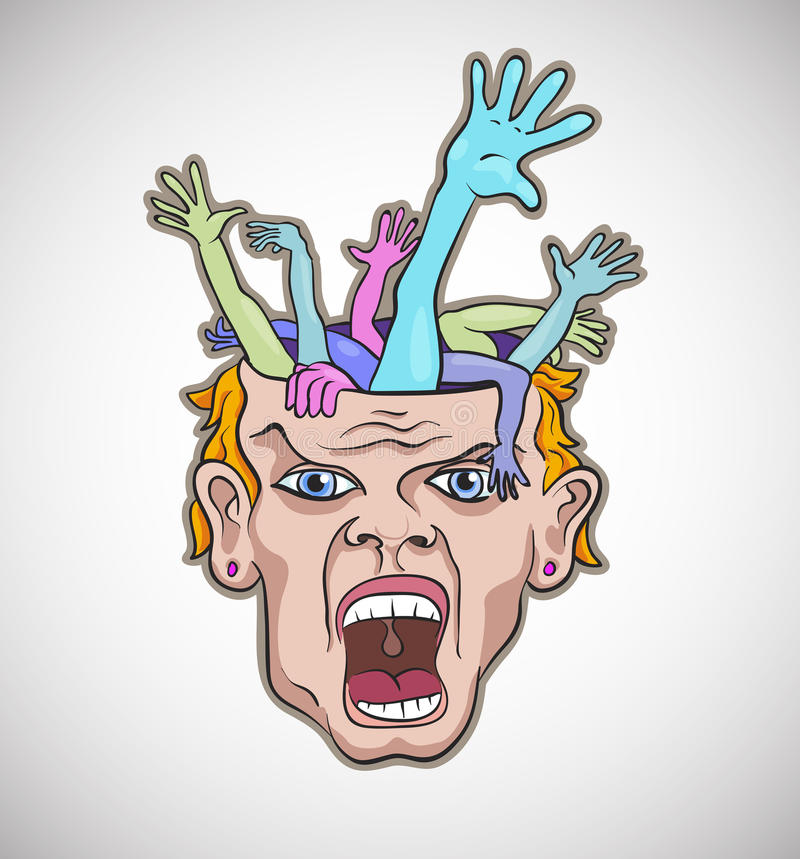 Free Crazy Man Face Artistic Vector Royalty Free Stock Photos - 23264448