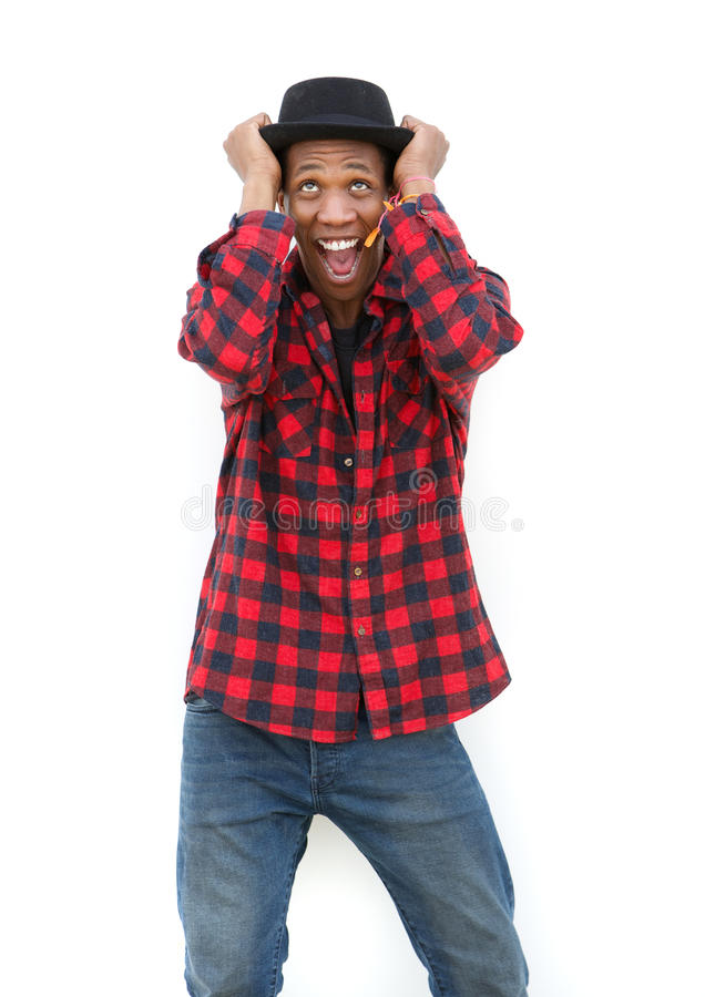 Crazy man. Portrait of a crazy man shouting on white background royalty free stock images