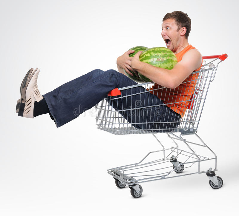 Download Crazy Man In Shopping-cart With Two Watermelon Stock Image - Image: 15501883