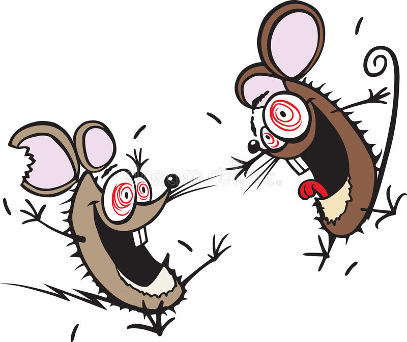 Crazy mice. A couple of hyper active cartoon mice that need a good home. Thank you for your time vector illustration