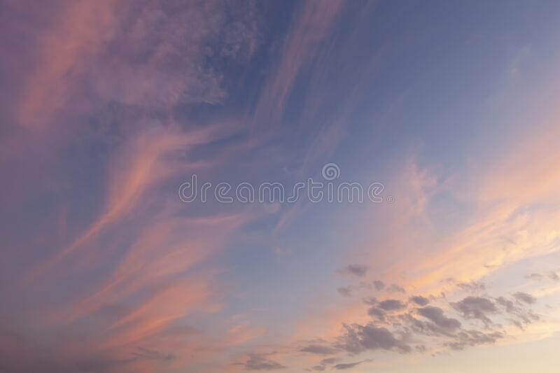 Crazy natural pink sky background. Stunning sunset pink sky and wavy clouds on a blue sky background stock images