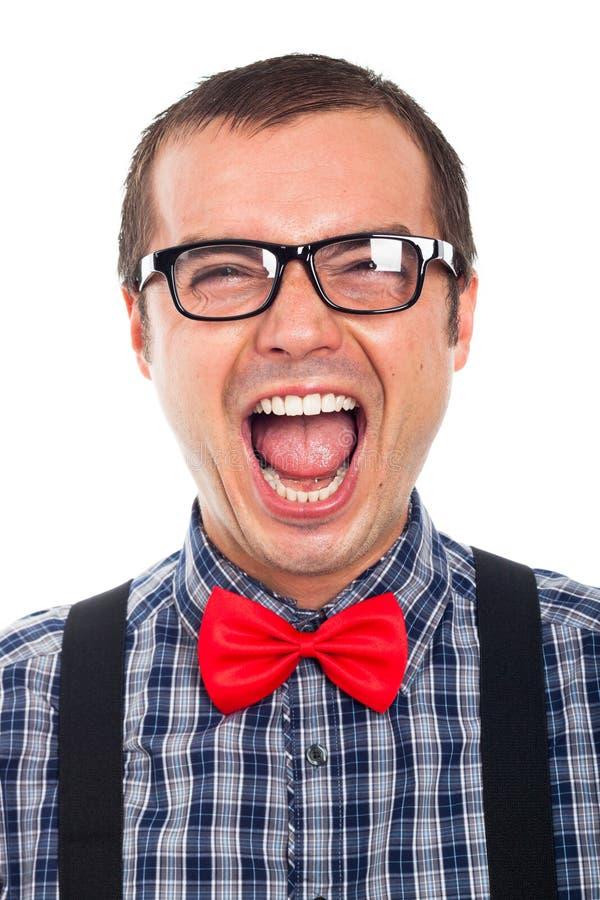 Crazy nerd man laughing stock image