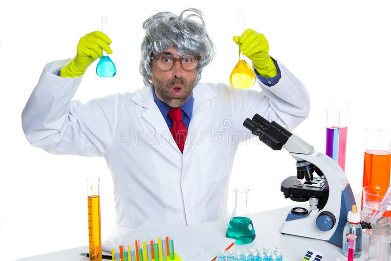 Crazy nerd scientist silly man on chemical laboratory stock photography