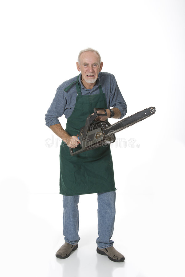Crazy old man with chainsaw stock photos
