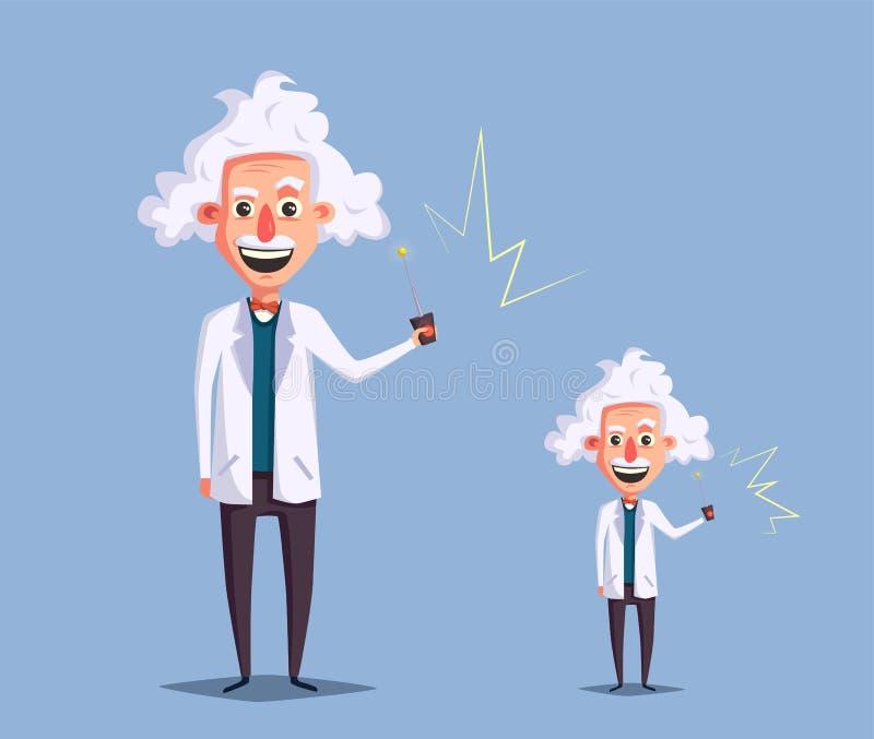 Crazy old scientist. Funny character. Cartoon vector illustration stock illustration