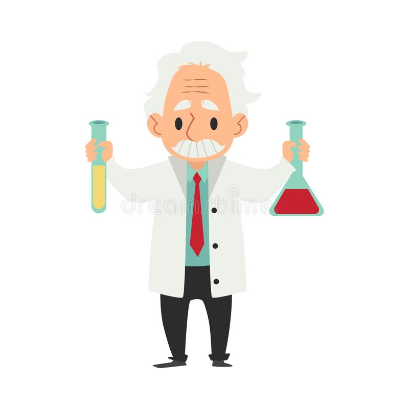 Crazy old scientist. Funny character. Cartoon vector illustration. Mad professor. Science experiment. Remote controller stock illustration