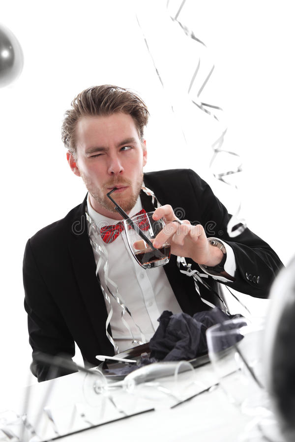 Download Crazy party guy with glass stock image. Image of dishware - 27690901