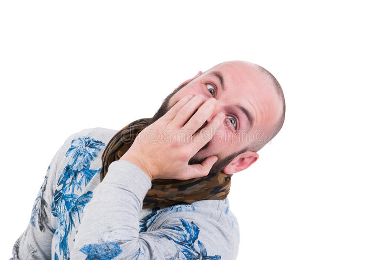 Crazy person making a funny face stock image