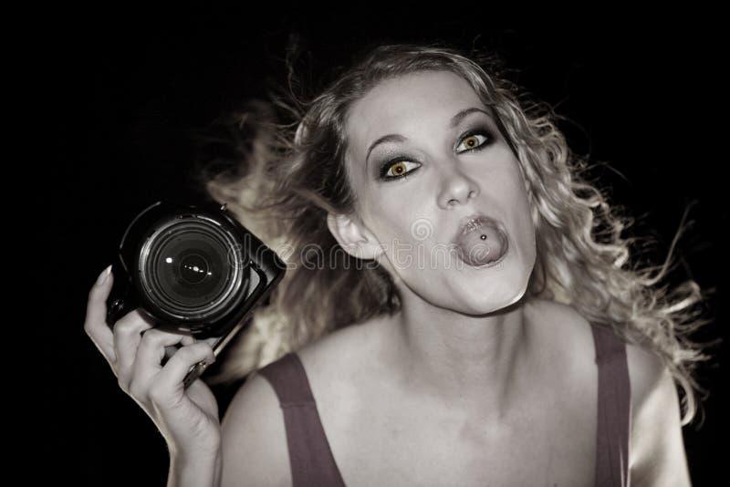 Crazy Photographer Girl stock photo