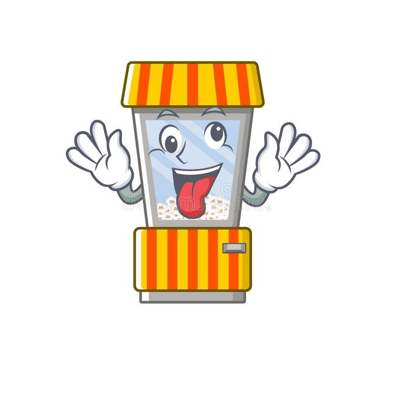 Crazy popcorn vending machine in mascot shape. Vector illustration stock illustration