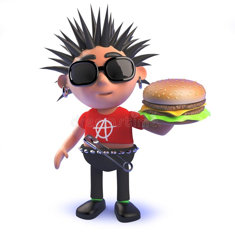 Crazy punk rocker cartoon character eating a cheese burger in 3d vector illustration