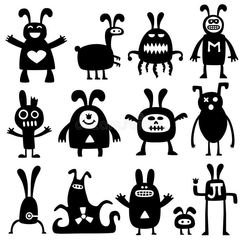 Crazy rabbits set02 vector illustration