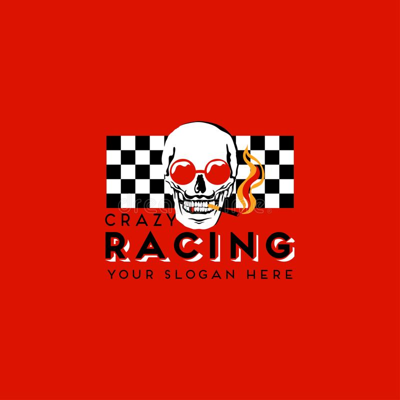 Fun logo design with smoking skull in red sunglasses on a red background. stock illustration