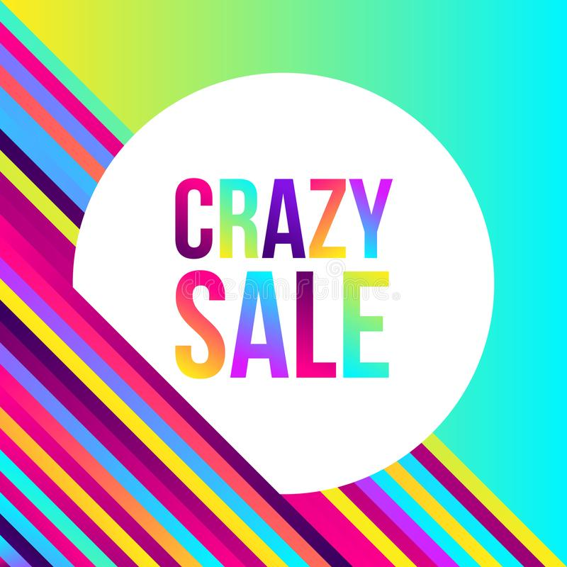 Crazy sale web banner, lots of colorful lines, frame for text vector illustration